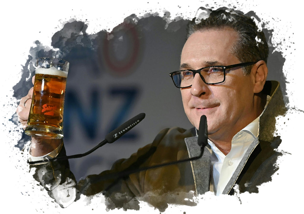 Strache mit einem Bierglas